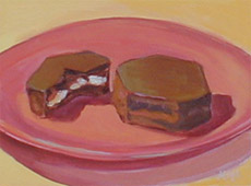 Little Debbies On A Pink Plate, Oil on Canvas